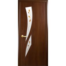 Двери Новый Стиль Камея орех с рисунком Р1