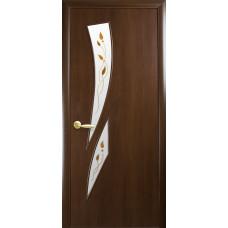 Двери Новый Стиль Камея ПВХ орех с рисунком Р1