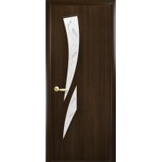 Двери Новый Стиль Камея ПВХ орех с рисунком Р3