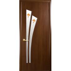 Двери Новый Стиль Лилия орех с рисунком Р1