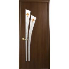 Двери Новый Стиль Лилия ПВХ орех с рисунком Р1