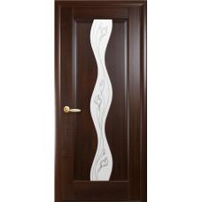 Двери Новый Стиль Волна каштан с рисунком Р2