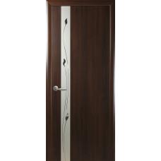 Двери Новый Стиль Злата ПВХ каштан с рисунком Р1